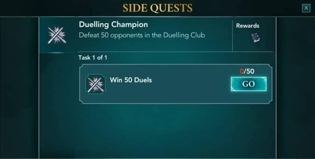 【ハリーポッターアプリ】決闘クラブのサイドクエスト『Duelling Champion』のやり方と褒美